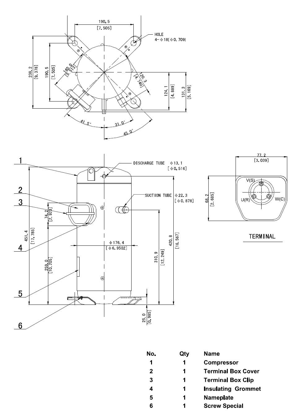 compressor scroll sanyo c sbn303h8a 11 60 kw r407c 400v. Black Bedroom Furniture Sets. Home Design Ideas